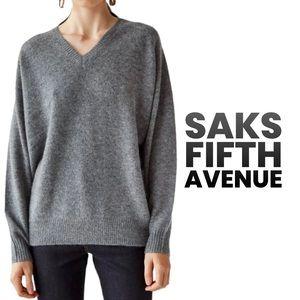 Saks fifth Avenue gray cashmere oversized boyfriend sweater XL